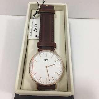 DW啡色皮錶40mm