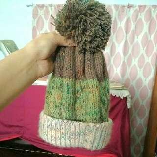 軍綠三色針織毛帽