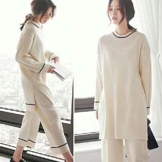 韓版居家寬鬆休閒清新簡約長袖寬褲套裝