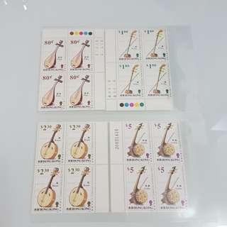中國弦樂器郵票(四方連帶邊)