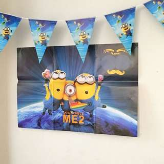 🌈 Minions Party Supplies - Party Backdrop Flag Banners Bunting / Party Deco / Birthday Deco
