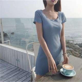 韓版女裝簡約修身直間條V領顯瘦A字連身裙