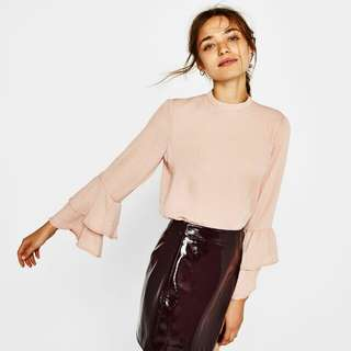 Bershka blush ruffle top