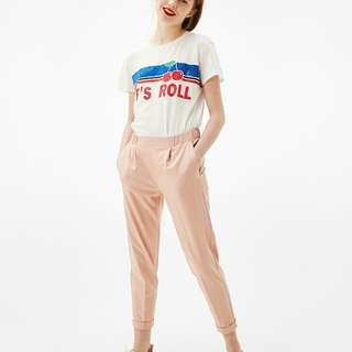 Bershka blush front pleat jogging trousers