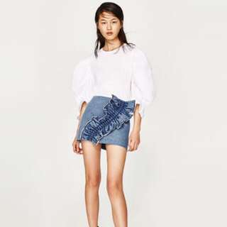 Zara Denim frill mini skirt