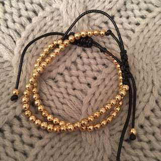 Kookai Black and Gold String Bracelets