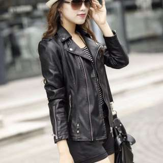 BNIT New women's wild style black leather jacket