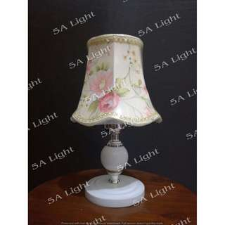 White Garnet Kap Florish Special - Lampu Hias Meja - Lampu Dekorasi