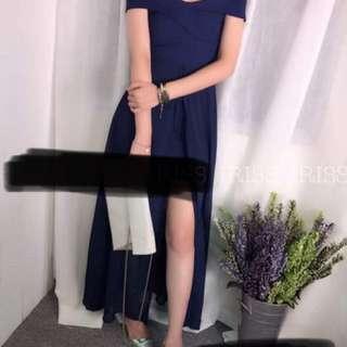韓國貨 一字肩 深藍色 晚裝裙