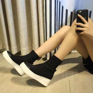 Brand new black sock-knitted style ankle boots