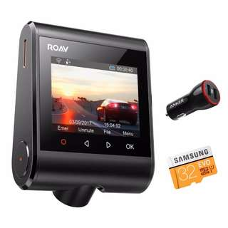 """[IN-STOCK] Anker Roav Dash Cam C1 Pro, 2K Resolution 2560X1440, Built-In GPS/WiFi, 2.4"""" LCD, 4-Lane Wide-Angle View Lens, G-Sensor, WDR, Loop Recording, 2-Port Charger, 32G microSD Card Included [Upgraded Version]"""