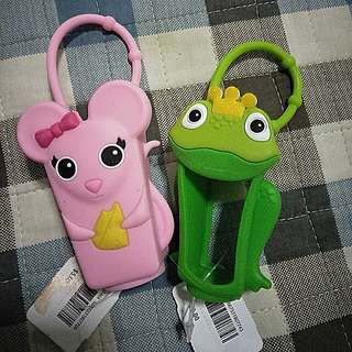 BN $5 FROG AND MOUSE HAND SANITIZERS HOLDER FROM KOREA!!