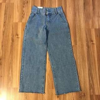 九分牛仔寬褲 M號