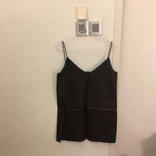 (Inc Pos) Black Leather-like Strip Dress