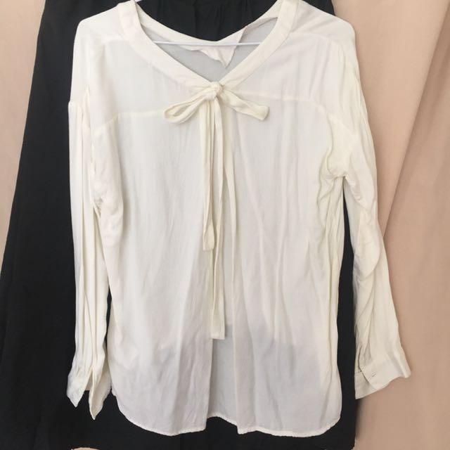日本專櫃蝴蝶結棉料上衣襯衫