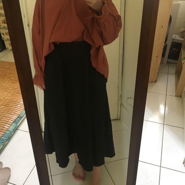 棉麻排扣圓裙