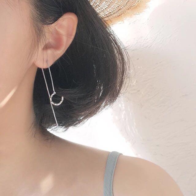 純銀兩用耳環簡約
