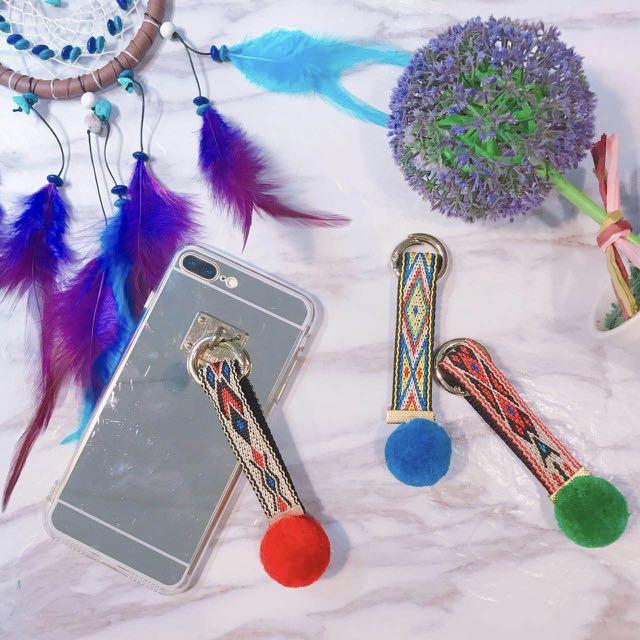 民族風毛球手機包包吊飾