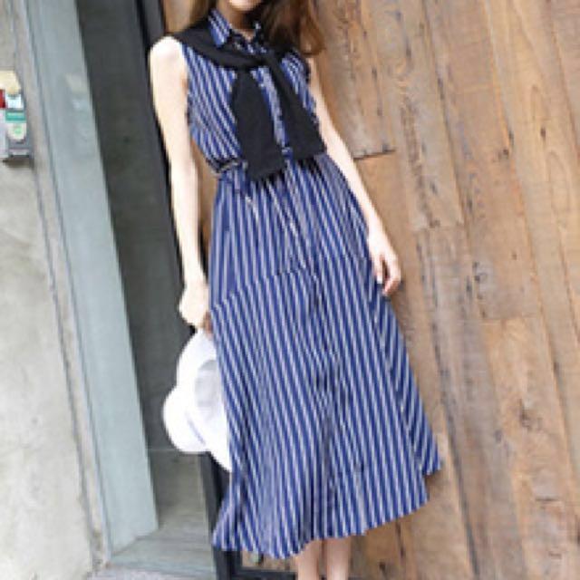 韓版無袖長襯衫洋裝