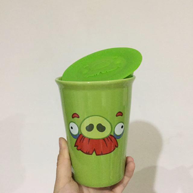 憤怒鳥雙層陶瓷杯 附立體杯蓋