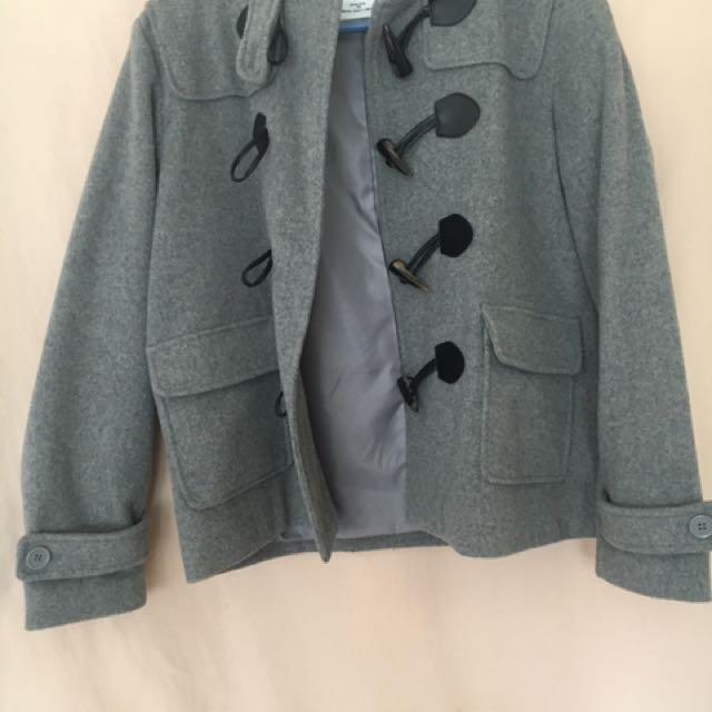 日本專櫃Archives羊毛牛角扣連帽大衣