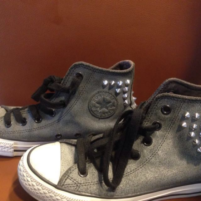 Authentic Converse Hi-Grey Suede Studded Sneakers
