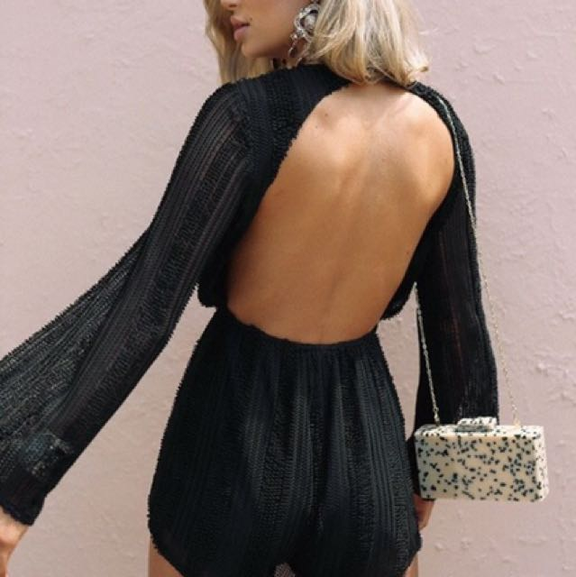 Backless Mesh Playsuit