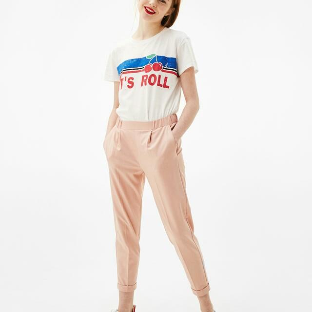 Bershka blush front pleat jogging trousers
