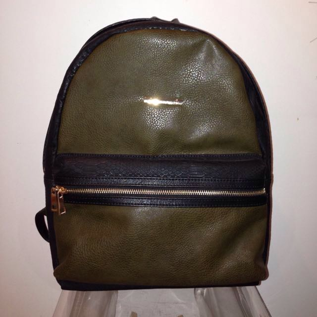 Black And Green Faux Leather Backpack