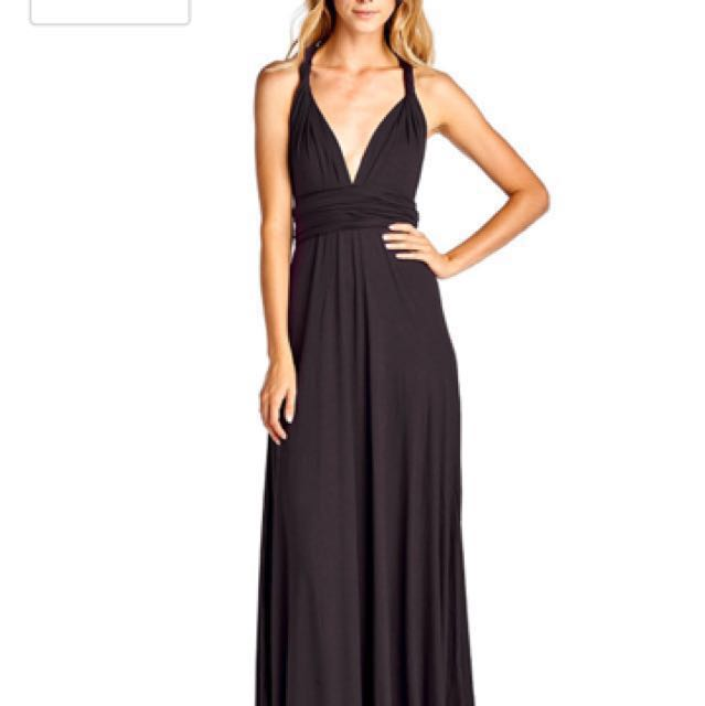 Black Convertible Multiway Multi Wrap Full Length Dress