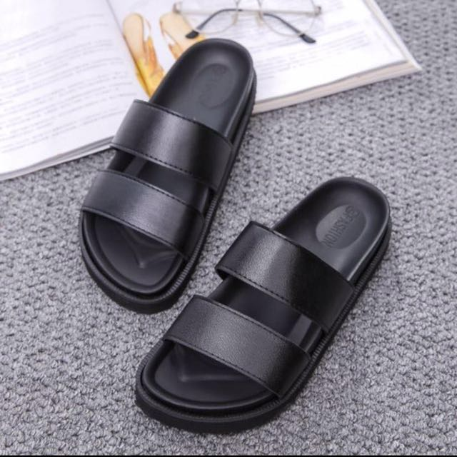 BLACK DOUBLE STRAP SANDALS/SLIPPERS