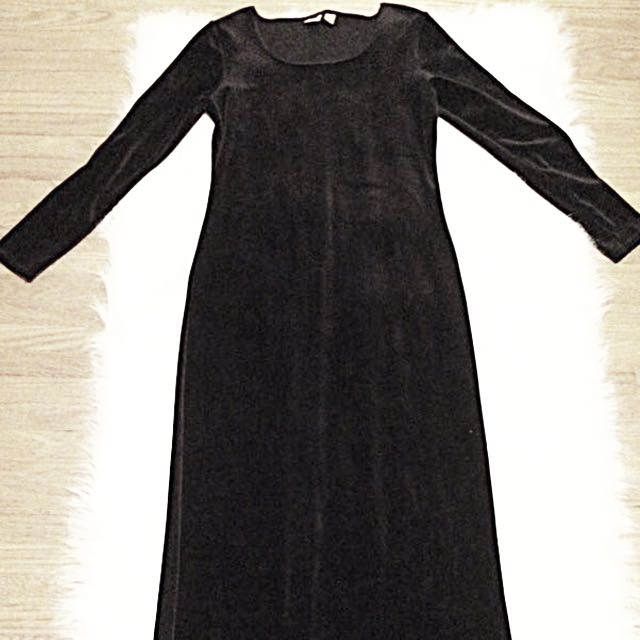 Black velvet maxi dress