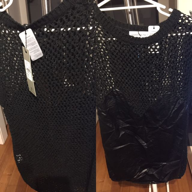 Blessed are the meek faux leather/ knitted top/ dress size 0