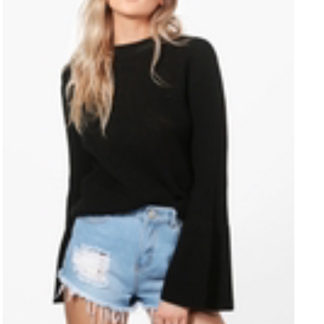 Boohoo Flare Sleeve Jumpers BLUSH PINK AND BLACK - size Small
