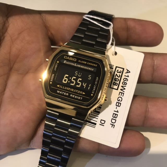 66ef96106948 Brand New Vintage Classic Casio Illuminator Gold Black Watch Metal ...