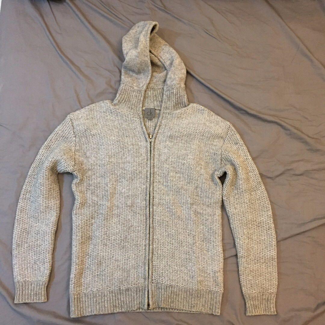 Calvin Klein CK 灰色 針織 毛衣外套