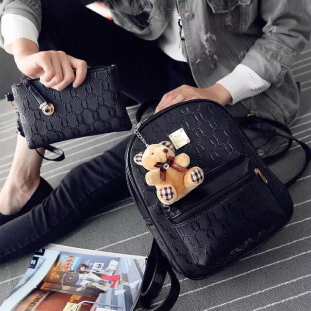 Crocodile Faux Leather Bag with Bear