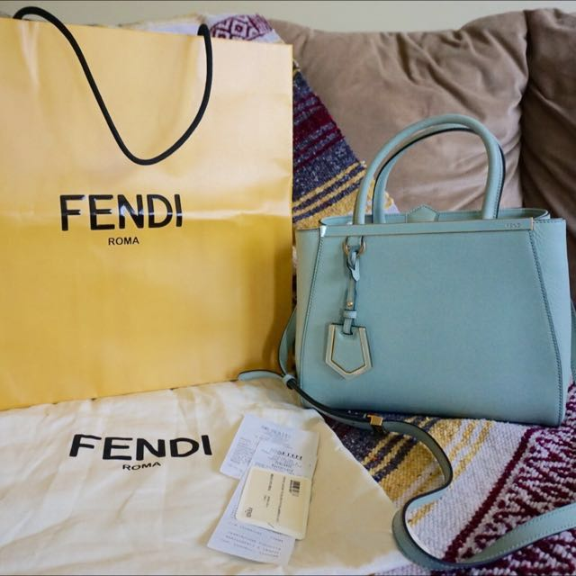 Fendi Petite 2 Jours in mint green with gold hardware