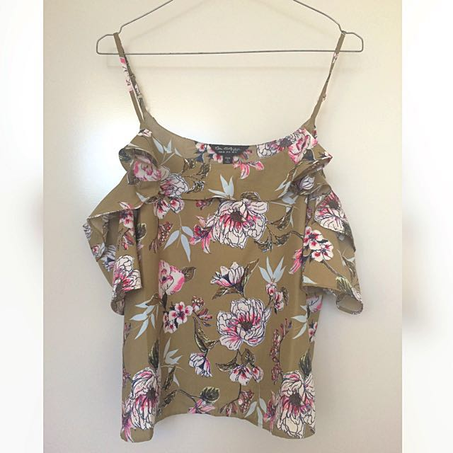Floral Khaki Printed Cold Shoulder Top NEW