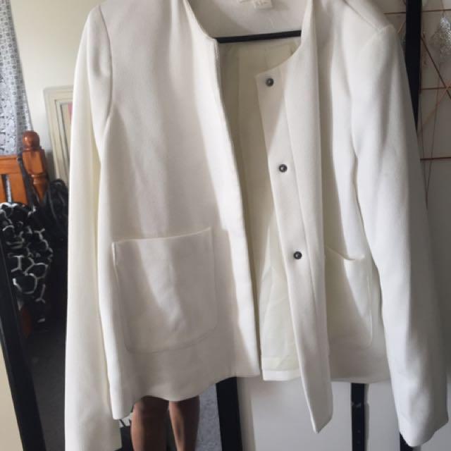 H & M white blazer size 12
