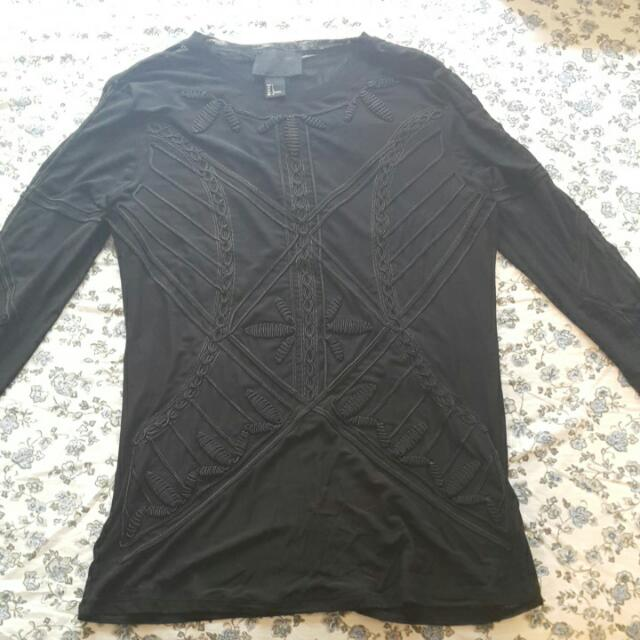H&m Long Sleeve Sheer Black Top With Heavy Embroidery