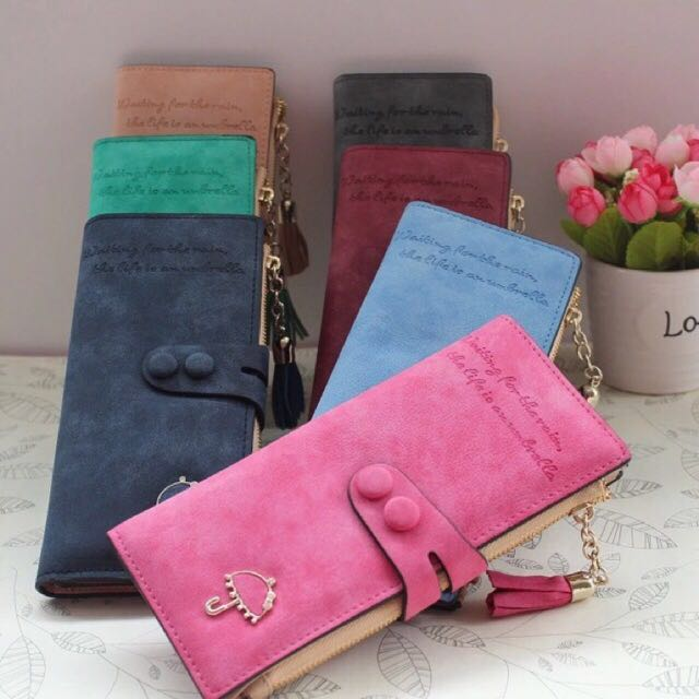 Long Ladies Wallet Zipper Vintage Umbrella Design w tassel