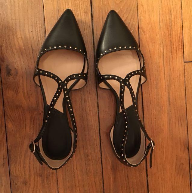 Mango尖頭平底鞋