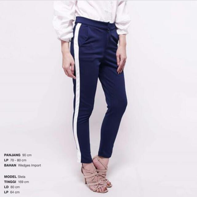 Navy Stripe Pants Celana Model Stella