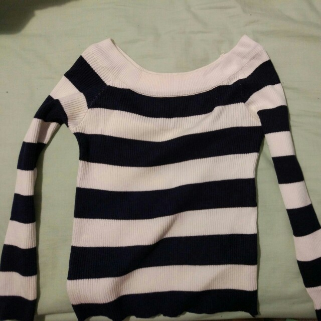 Navy white striped offshoulder thin knit long sleeve top