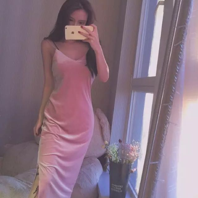 NEW! Pink crushed velvet bodycon evening dress