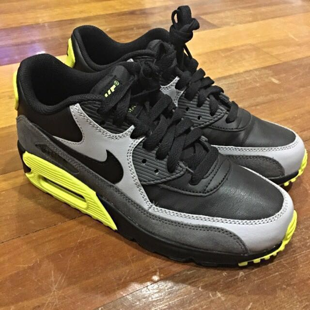 watch 05651 8efda NIKE AIR MAX 90 LEATHER (BLACK,YELLOW,GREY), Women s Fashion, Shoes ...