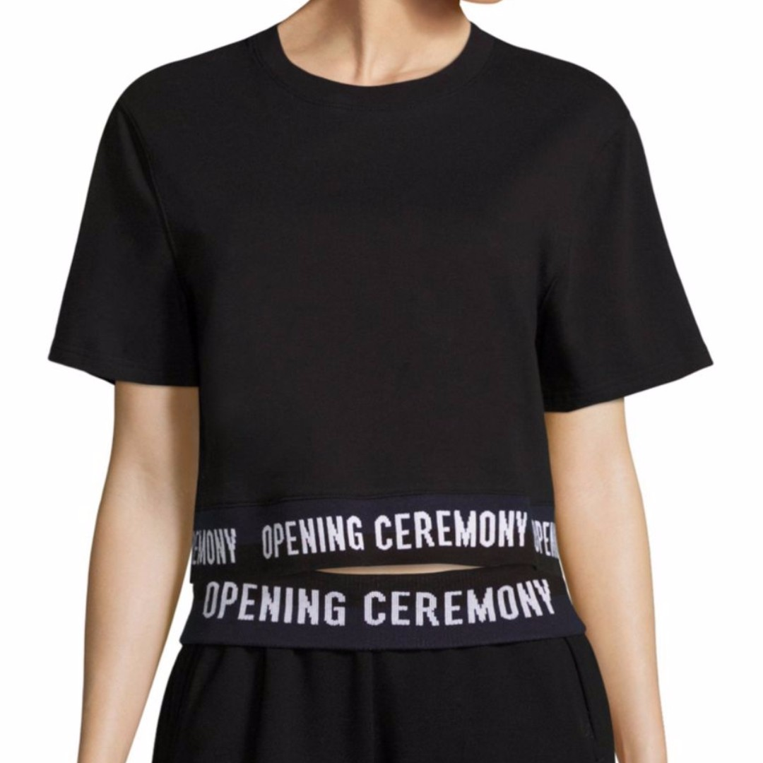 Opening Ceremony Cropped Cotton Logo Tee