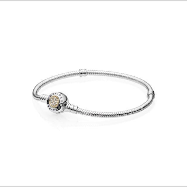 (全新正品)Pandora  雙色鑲鑽手鍊 蛇鍊 編號590471cz