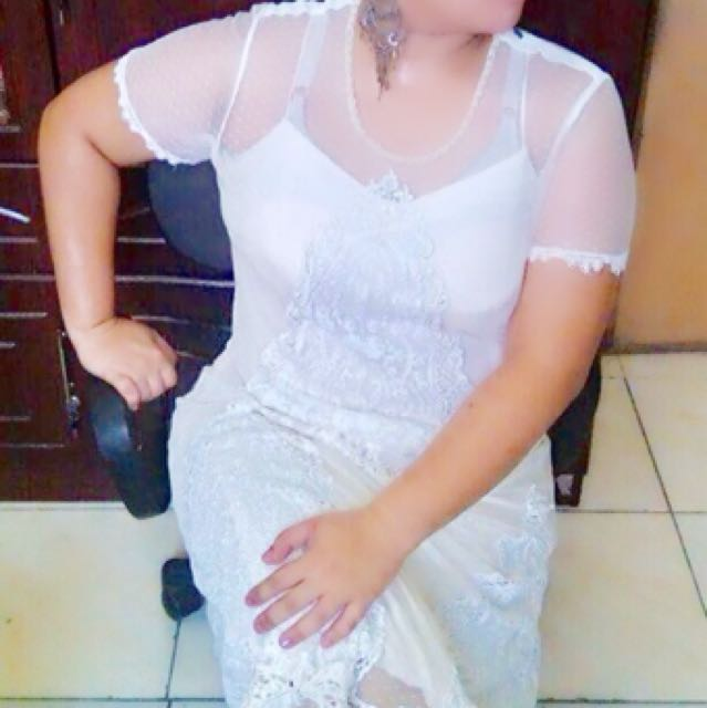Plus Size White Gown with Beads